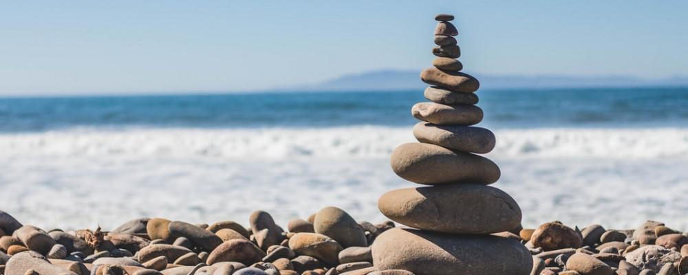 Rock stack on seashore